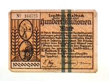 1923 Germany HANDELSKAMMER 100.000.000 / 100 Million Mark Banknote