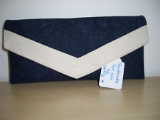 NAVY BLUE AND CREAM faux suede envelope clutch bag, clasp,  fully lined BN,