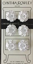 Cynthia Rowley White Washed Rose Drawer Cabinet Pulls Round Knobs