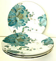 "222 FIFTH Eliza Teal Blue Salad Plates Set Of 4 8.75"" White w/ Teal & Gold EUC"