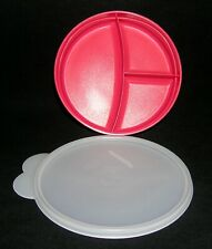 Tupperware Munch Kids Divided Dish Plate 2552A - Hot Pink/Red with Sheer Lid