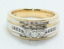 3 Stone Diamond Past Present Future Ring Round Baguette 14K Gold BRAND NEW $2200