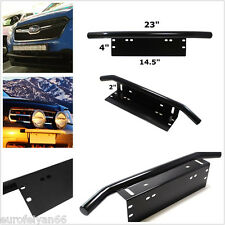 One Black Bull Bar Type Car SUV 4x4 Bumper License Plate LED Light Mount Bracket