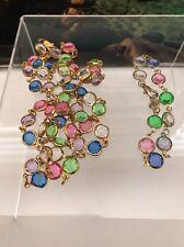 """Vintage Signed Bellagio Crystal Gold Tone Bezel Set 35"""" Necklace & 7.5"""" Bracelet"""