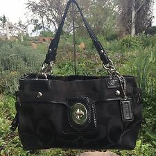 Coach Peyton Black Signature Sateen & Snakeskin Leather Tote Bag Purse 14507