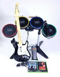 Xbox 360 Rock Band Bundle Wired Guitar Wireless Drums Silencer Pads AC/DC Live