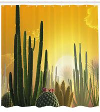 "Cactus Decor Shower Curtain Sunset Desert Eco Print for Bathroom 84"" Extralong"