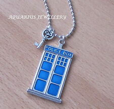 DR WHO /POLICE BOX PENDANT & KEY WITH STAINLESS STEEL BALL CHAIN  FREE GIFT BOX