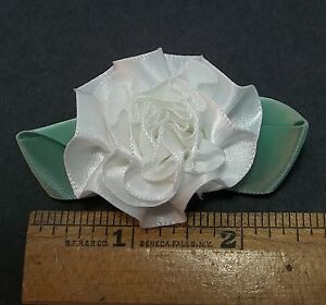 "12 pc.2"" Large White Satin Ribbon Carnation Flower Hair bows, Baby, or Crafts"