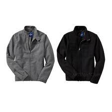 NWT Old Navy Black Wool Blend Zip Men Jacket Winter Coat Standing Colar S M L XL