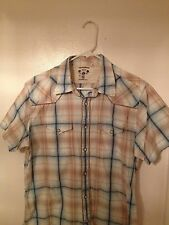 Guess Jeans Vintage Large Wooden Pearl Snaps Short Sleeve Striped Checkered