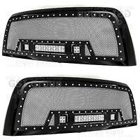 10-17 Dodge RAM 2500+3500 Rivet Black SS Mesh Grille+Black Shell+3x LED Lights