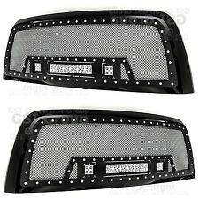 10-17 Dodge RAM 2500+3500 Rivet Black SS Mesh Grille+Black Shell+3x LED Lights