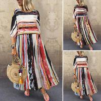 Women Summer Short Sleeve Striped Printed Casual Loose Baggy Cotton Kaftan Dress