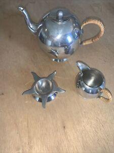 NICK MUNRO Tea Pot, Milk Jug And Strainer Pewter Tea Set