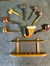 VINTAGE PIPE COLLECTION Lot of 8 Tobacco Pipes W/ Holder