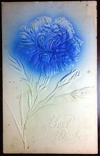 Early 1900's P. Sander NY Postcard Best Wishes Embossed Flower
