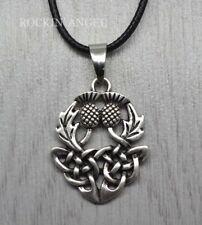 925 Antique Silver Plt Celtic Thistle Pendant Necklace  Gift Scottish