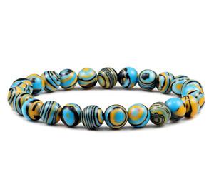 New Blue Malachite Natural Stone Bracelet Women Men Beads Bracelet Charm Jewelry
