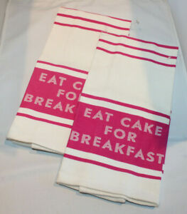 "2 Kate Spade New York cotton dish towels ""Eat Cake for Breakfast"" white/pink"