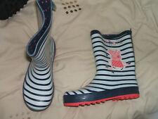 BNWT Next Peppa Pig Striped Navy Wellington Boots Size 12