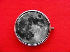 FULL MOON PLANET OUTER SPACE SCIENCE STASH ROUND MINT METAL PILL BOX CASE