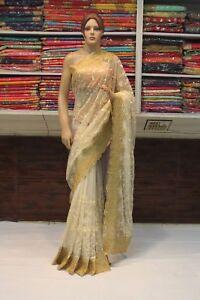 Indian Net Chikan Designer Silk Blouse Saree Bollywood Sari Party Wear Dress