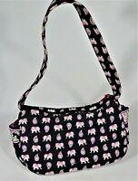 VERA BRADLEY Black MAGGIE Purse PINK ELEPHANTS (Retired) Quilted Zip Bag