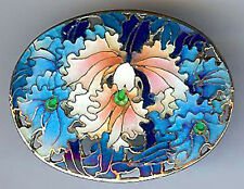 BEAUTIFUL VINTAGE CHINESE STERLING SILVER BLUE PINK & WHITE ENAMEL ORCHID PIN*