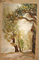 Vintage hand made embroidery wall hanging tapestry gobelin landscape