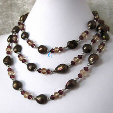 """Pearl Necklace Crystal Necklace 50"""" 4-12mm Chocolate Freshwater"""