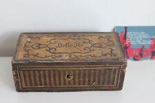Boîte en Marquetterie de Paille BELLE ILE Souvenir Mer XIXe
