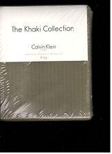 Calvin Klein Seedling Stripe Moss King Pillowcases Khaki Collection Green New