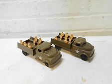 Vintage 1950's Two Pyro Plastic US Army Troop Carrier Trucks Lionel Load
