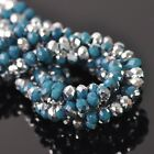 100pcs 6x4mm Rondelle Faceted Crystal Glass Loose Beads Silver&N Peacock Blue