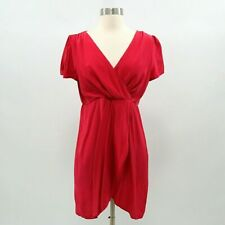 Alice & Trixie Faux Wrap Dress Womens 100% Silk S Small Red Short Sleeve