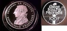 1987 France Large Silver Piedfort Proof 100 f Lafayette