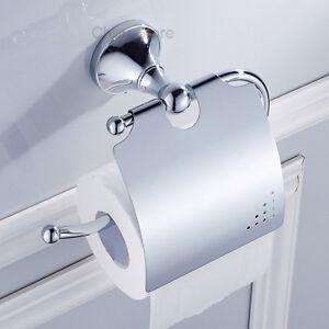 Mirror Chrome Wall Mount Bathroom Toilet Paper Roll Holder Tissue Shelf W/ Cover