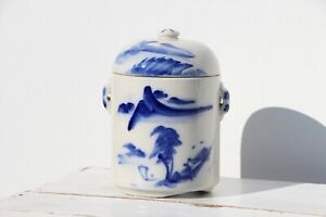1940s Chinese Tea Caddy, Celadon Blue & White, Hand Painted Landscape Scene