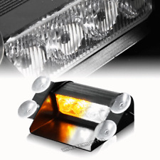 4 LED Emergency Roadside Warning Flashing Windshield Strobe Light Amber/White F