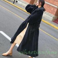 Lady Mink Fur Long Coat Womens Soft Fur Thick Warm Jacket Parka Full Length