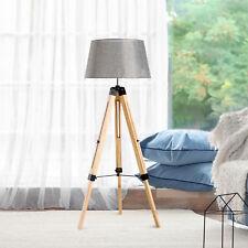 Lámpara de Pie con Trípode Altura Ajustable 99-143cm Madera y Lino Madera