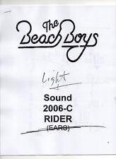 The Beach Boys 2006 Technical Rider, Lights, Sound, etc