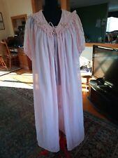 vintage Gmc Long Nylon Nightgown peignoir robe Set pink Usa Union Label small