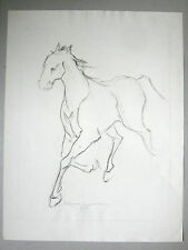 Dessin original Fusain signé M. L. LAURENT 58 Cheval Horse french drawing