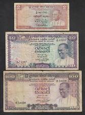 Ceylon P-62a,79,80a. 2 Rupee 1962 (F), 50 Rupee 1972 (F), 100 Rupees 1975 (aF)