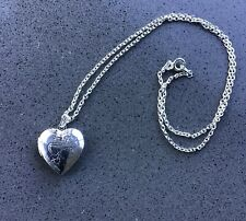 Ladies Pretty Silver Heart Locket Necklace, As New