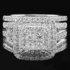 925 Silver White Topaz Cross Anniversary Chic Wedding Band Ring Size 6-10 Women