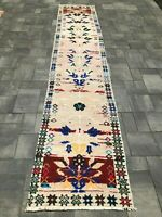 "Turkish Wool Runner, Vintage Hand Knotted Soft Pile 11'4""x 2'4"", FREE SHIPPING!"