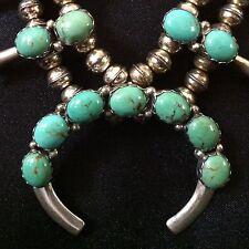 Vintage RARE Blue Gem Turquoise Navajo Petite Squash Blossom ~ Sterling Silver